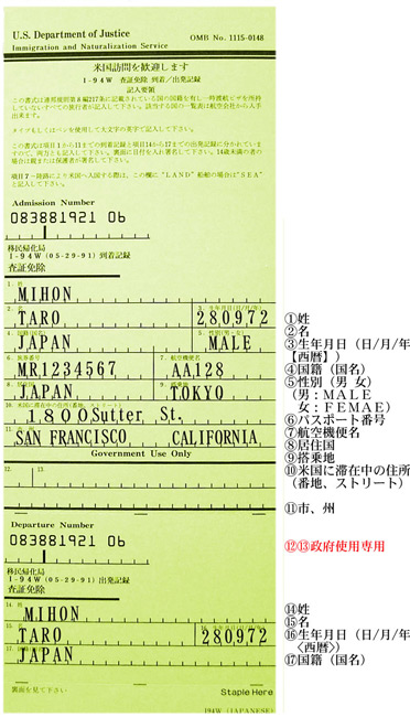 出入国カード 記入例 [表]